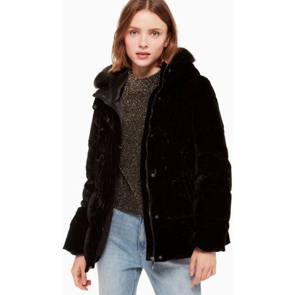 KATE SPADE NY faux fur trim Velvet Down Jacket